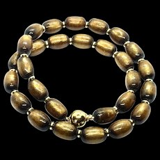 Natural Gold Coral Olive Shape Beads Necklace