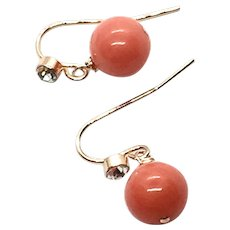 Natural Pacific Momo Angel Skin Salmon 10mm Coral Earring Rose Gold Filled