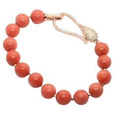 10mm Salmon Coral Bracelet Rose Gold Vermeil Sterling Silver Clasp