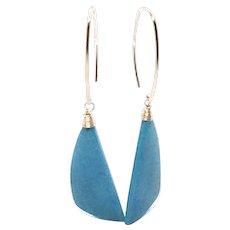 Genuine Sleeping Beauty Turquoise Earring Amazing Blue Rose Gold Vermeil