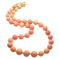 10mm -15mm Lovely Vintage Pacific Pink Momo Coral Restrung 24k Gold Vermeil