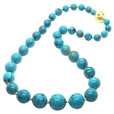 100gr 20mm Arizona Turquoise Round Bead Necklace Vermeil Clasp