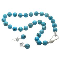 NOS 12mm Arizona Turquoise Round Bead Necklace & Earring Set Sterling Silver Like Sleeping Beauty
