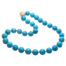 NOS 12-13mm Sleeping Beauty Turquoise Necklace