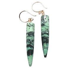 Green Hubei Turquoise Long Drop Earring Rose Gold Vermeil