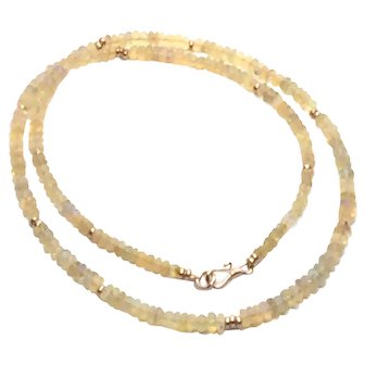 30 ct Ethiopian Welo Opal Beads Necklace Rose Gold Vermeil