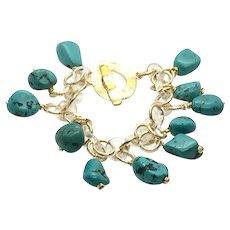 Turquoise and Quartz Charm Bracelet