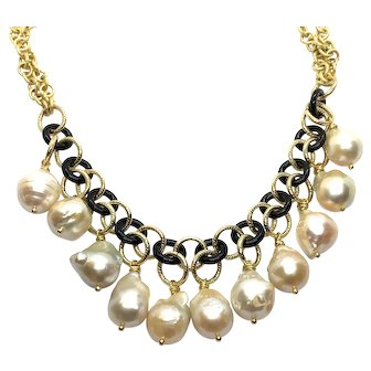 Dangling Baroque Pearls and Black Onyx Loops Necklace