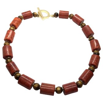 Natural Red and Gold Sponge Coral Necklace