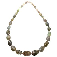 233 ct Blue and Green Tourmaline Rose Gold Vermeil Necklace