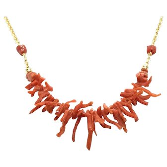 Italian Mediterranean Red Coral Branch Necklace