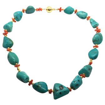 Blue Green Turquoise and Red Italian Coral Necklace 24kt Gold Vermeil Spacers