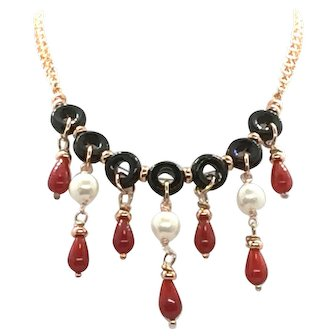 Red Coral, Pearl, and Black Onyx Necklace