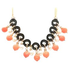 Angel Skin Salmon Coral, Pearls and Black Onyx Necklace