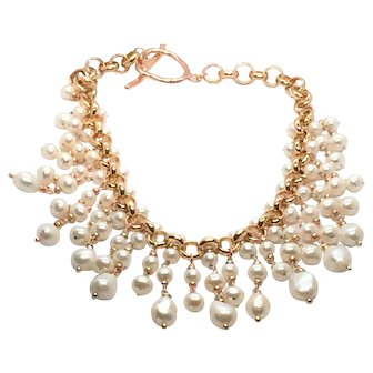 Large Pearls Bib Style Statement Necklace