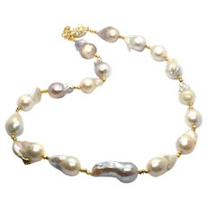 Natural Color Baroque Pearl Necklace With 24kt Gold Vermeil Spacers and Swarovski Crystal Clasp