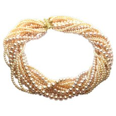 Sophisticated Pink Pearls 14 Strands Torsade Necklace Gold Vermeil Sterling Silver Clasp