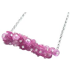Pink Ruby Cluster Sterling Silver and Platinum Plated Necklace