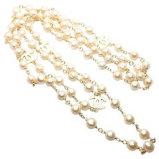"""60"""" Flapper 10-11mm Champagne Pearl Chain Hand Coiled"""