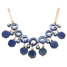 Lapis Lazuli and Black Pearl Necklace