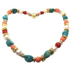 Turquoise Coral Pearl Necklace