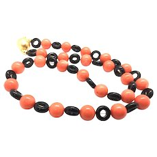 Black Onyx Loop and Coral Necklace