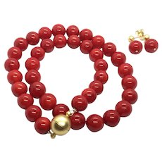 10-11mm Red Coral Necklace and Earring Set
