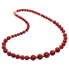 Graduated Red Coral Necklace