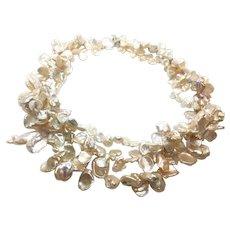 Triple Strands Keshi Pearls Torsade Necklace Sterling Clasp