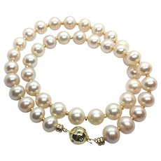 10-11mm Pink Champagne Color Non Nucleated Pearl Necklace Sterling Clasp
