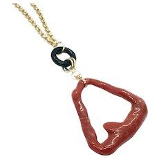 Italian Mediterranean Red Coral Branch Loop Necklace