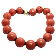 Huge Coral Necklace with Black Onyx Accents