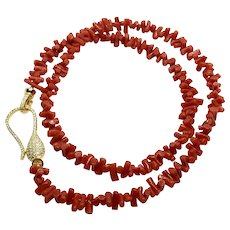"22"" Red Italian Coral Not Dyed Necklace Gold Plated Sterling Clasp"