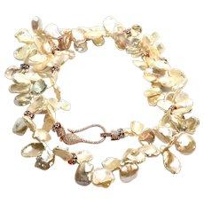 "30"" Natural Pink Champagne Gold Keshi Petal Pearl Long Necklace"