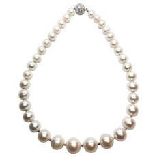 11-14mm Large Non Nucleated White Freshwater Cultured Pearl Necklace South Sea Size
