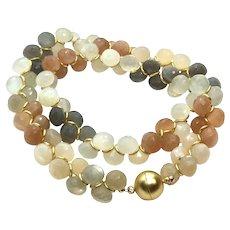 385 ct Rainbow Moonstones Onion Cut Necklace Earring Set Matte Gold