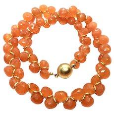 335 ct Orange Carnelian Faceted Onion Cut Necklace Matte Gold