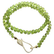 198 ct Very Fine Green Peridot Necklace Earring Set Gold Over Sterling and 14K Gold Filled