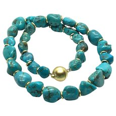 Blue Turquoise Nugget Necklace Matte Gold