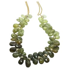 500 ct Green Garnet Tsavorite Necklace Matte Gold Plate Chain