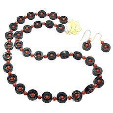Black Onyx and Italian Red Coral Necklace and Earring Set