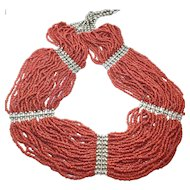 Art Deco Natural Red Coral 30 Strands Flapper Necklace Bib Statement