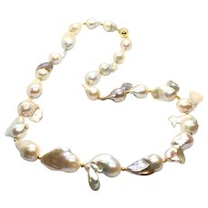 Large Metallic Color Baroque Freshwater Pearl Necklace 24K Gold Vermeil