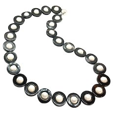 Freshwater Pearl And Black Onyx Loop Necklace Sterling Silver Clasp