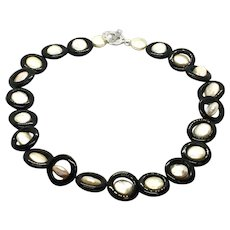 Black Onyx Champagne Coin Pearls Necklace Sterling Toggle