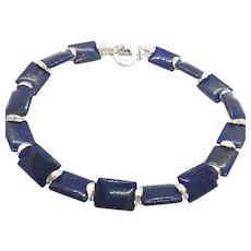 Rectangular Pillow Shape Natural Lapis Lazuli Necklace