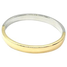 14K Yellow and White Gold Oval Bangle Bracelet Made in Italy