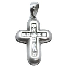 18K Princess Cut Diamond Cross Charm Pendant 0.27 ct Matte Brushed White Gold