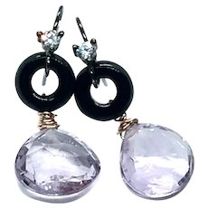 17cy Punk Lavender Amethyst and Black Onyx Earring 14K GF and Vermeil