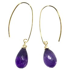 10ct Amethyst Drop Earring 14K GF and Vermeil
